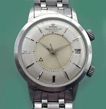 Vintage 60's Jaeger Le Coultre Jumbo Bumper Automatic Date Memovox Watch w/ Band