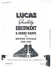 Lucas Parts Manual Book SUNBEAM 1952, 1953, 1954, 1955, 1956, 1957