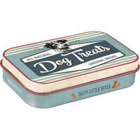Retro Embossed Small Pet Treat Tin Box DOG TREATS 6 x 9.5 x 2cm Portable Puppy