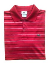 LACOSTE MENS DESIGNER RED WHITE STRIPED SHORT SLEEVED POLO T-SHIRT TOP M/L £85