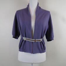 Fabiana Filippi Womens XXL Thin Knit S/S Sweater Cardigan Top Leather Detail