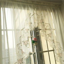 Pair of Beautiful Rose Embroidery Cutwork Ivory Sheer Curtain Swags L