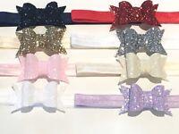 "Handmade glitter 2.5"" bows girls/ baby headbands"