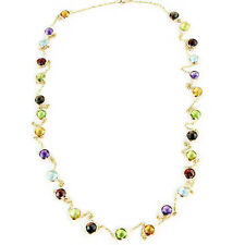 14K Yellow Gold Fancy Cut Round Shaped Gemstones Necklace 36 Inches
