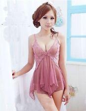 Sexy Women Girls Lace Lingerie Nightwear Sleepwear Set Babydoll Dress + G-string
