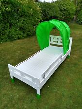 White IKEA Kritter Bed with Mattress and Canopy