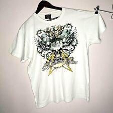Fishbone Big Buddha Tattoos Vtg '98 White Skull&Lightingns Golden Spellout Roses