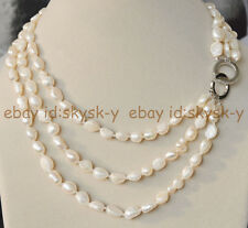 """Natural 3 Rows 7-8mm baroque white freshwater pearl jewelry necklace 17-20"""" AA"""