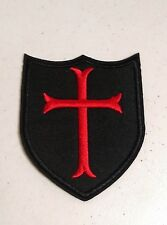"""(G15) KNIGHTS TEMPLAR RED CROSS SHIELD 3-3/4"""" x 3-1/4"""" iron on patch Badge"""