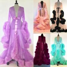 NEW Faux Fur Lace Women Wedding Robes Mesh Long Sleeve Party Sleepwear Nightgown