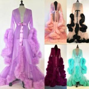 Faux Fur Lace Long Sleeve Women Wedding Robes Mesh Party Sleepwear Nightgown