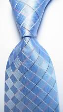 New Classic Checks Light Blue White Pink JACQUARD WOVEN Silk Men's Tie Necktie