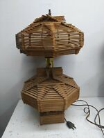"Gorgeous Vintage Intricate Tramp Folk Art Popsicle Stick Table Lamp  20"" Tall"