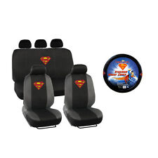 New Superman Shield Front and Back Car Seat Covers Steering Wheel Cover Full Set