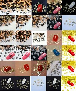 20 Nail Art Sequins Glitter Manicure Witch Bats Spider Butterfly Kitty Heart UK