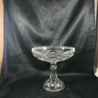 Vintage Depression Glass Clear Sunburst Pedestal Compote Candy Dish