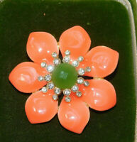 Peach Coral color Enamel Jade Green Rhinestone Flower Pin Brooch 1a 14
