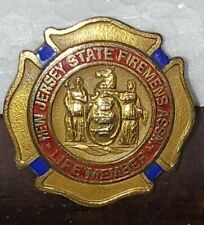 Antique New Jersey State Firemen's Assoc Life Member Pre-Owned Fireman Pin