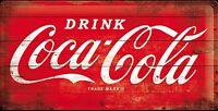Coca Cola Rot Logo Groß Geprägtes Metall Zeichen 500mm x 250mm (Na )