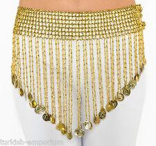 Stretch moneda cinturón bailarina del vientre Bufanda Disfraz De Cleopatra Con Cuentas Talla Plus Nuevo Uk