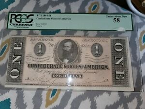 1864 ONE DOLLAR CONFEDERATE STATES NOTES CIVIL WAR CURRENCY 58 GRADE, BEAUTY