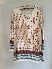 Urban ladies hippie boho tunic long top or mini dress size 10 multi coloured