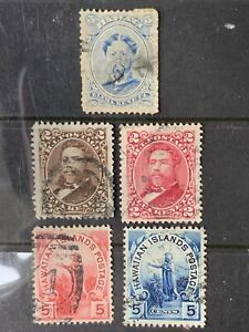 O6/22 US Hawaii Stamp 1800s Scott 2c 5c 5 UH/NH Nice Coll