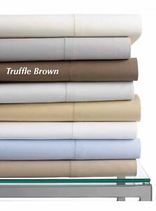 Hotel Collection Twin Flat Sheet 600 Thread Count Egyptian Cotton Truffle Brown