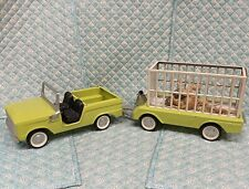 Vintage Lime Green NYLINT Toy Bronco N-8200 Ford/ Safari Trailer/Ramp/Animals