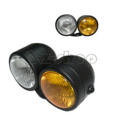 Twin Dominator Motorcycle Head Light Lamp Dual Streetfighter Cafe Racer Amber