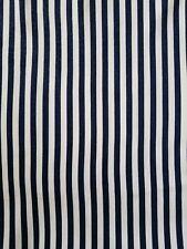 """Denim Knit Twill Stretch Stripe Fabric Denim Blue Navy Cream 1 Yard 36"""" Wide"""
