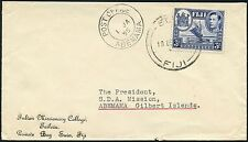 FIJI to GILBERT + ELLICE FULTON MISSIONARY COLLEGE ENVELOPE 1955 to ABEMAMA