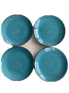 Royal Norfolk Turquoise Swirl Stoneware (4 Pack Plates) Salad Plates 7 Inch