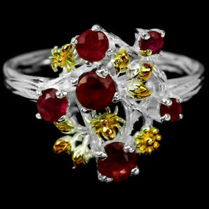GENUINE BLOOD RED RUBY ROUND STERLING 925 SILVER 2-TONE FLOWER RING SIZE 6.75