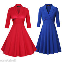 Women 1940s/50s Vintage Style Rockabilly Cocktail Party Pinup Swing Tea Dress