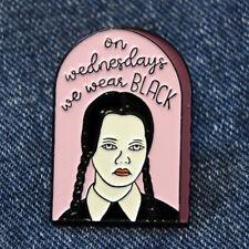 Wednesday Addams Enamel Pin Lapel Brooch On Wednesdays We Wear Black Spooky