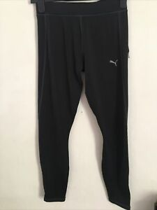 Puma Black Running Trousers with Zipped Ankles Size 10 (B-20)