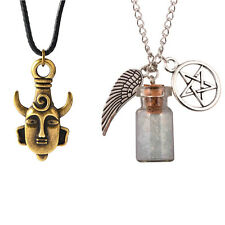 SUPERNATURAL Necklace Set angel wing pentagram rock salt and burn bottle amulet