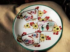 VINTAGE HANDPAINTED ORIENTAL PLATE LOVELY BOLD DESIGN AND COLOURS GEISHA & BIRDS