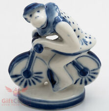 Gzhel Porcelain Circus Monkey on the bicycle Figurine handmade souvenir