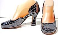 Anyi Lu Pumps size 5.5 - 6 M Black Patent Leather Croc Print Heels Shoes  WF6