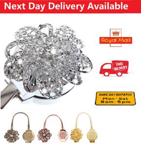 Pearl Curtain Tie Backs Crystal Flower Magnetic Metal Curtain Tiebacks Clips UK