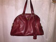 pre-owned authentic YSL Yves Saint Laurent large Oxblood Red MUSE Satchel  PURSE