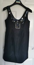 All Saints Dress Size 12 Black Sequins Beaded Neckline