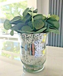 Artificial Eucalyptus in Silver Speckled Vase Faux Plants Pot Decor Vines 24cm h