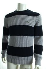 BNWT LACOSTE AH8992 MEN'S JUMPER CREW NECK STRIPED AND RIBBED SWEATER RRP £160