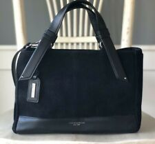 TIGNANELLO Black Suede & Leather Convertible Satchel Shoulder Handbag Purse EUC