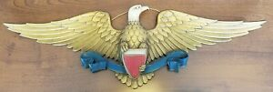 "Vintage Sexton Patriotic American Eagle Shield Aluminum Wall Plaque 27"" Wingspan"