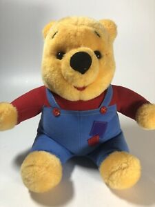 """Disney Winnie the Pooh 11"""" Talking Plush Overalls Mattel 1997 TESTED AND WORKING"""