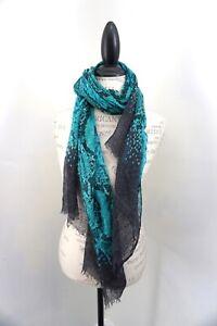 GUCCI Green & Black Animal Print Silk Rectangle Scarf 26x70 STUNNING!